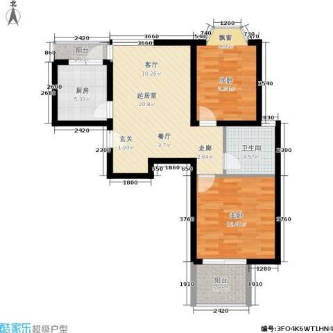 龙柏香榭苑2室0厅1卫1厨84.00㎡户型图