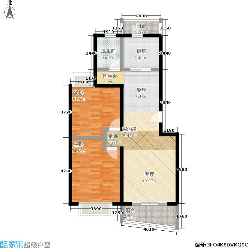 志能新苑86.77㎡房型: 二房; 面积段: 86.77 -91.46 平方米; 户型
