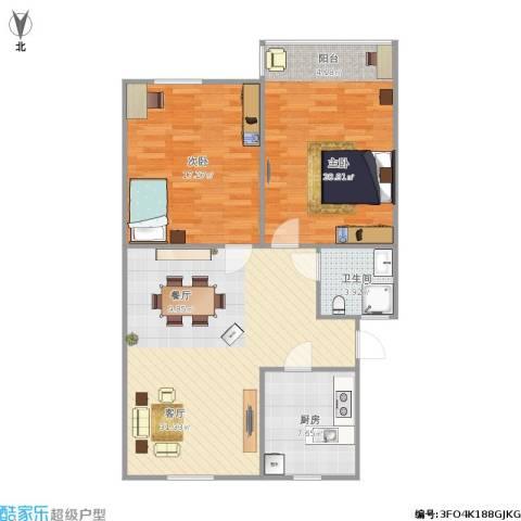 中山北路小区2室1厅1卫1厨107.00㎡户型图