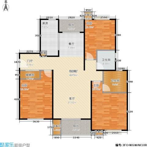 上海源花城3室1厅2卫1厨125.00㎡户型图