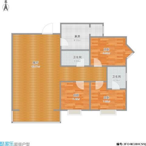 海佳云顶3室1厅2卫1厨117.00㎡户型图