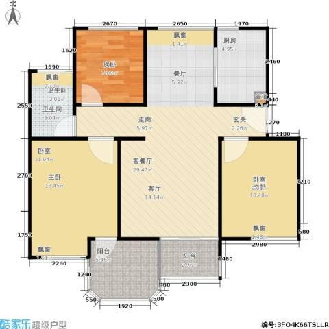 中梁英伦印象3室1厅1卫1厨105.00㎡户型图
