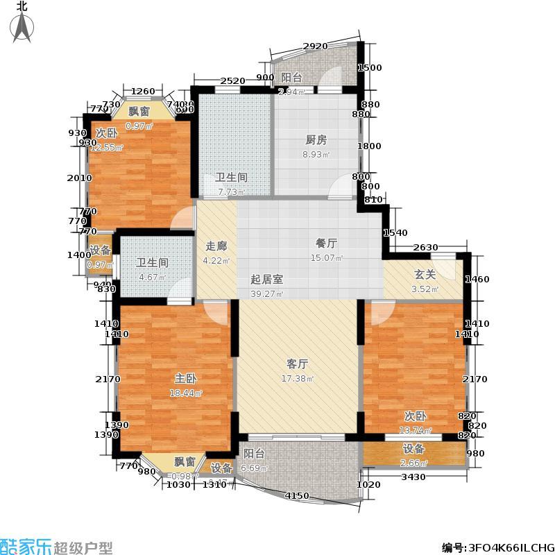 东湖名苑131.00㎡房型: 三房; 面积段: 131 -138 平方米; 户型