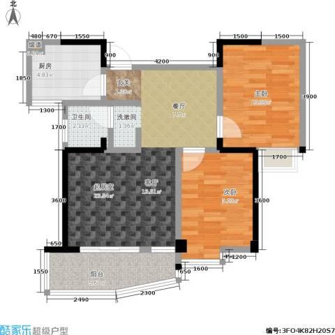 西城龙庭2室0厅1卫1厨80.00㎡户型图