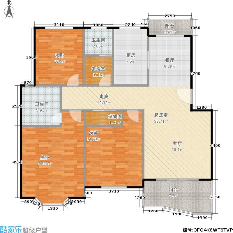 金榜世家房型户型3室2卫1厨