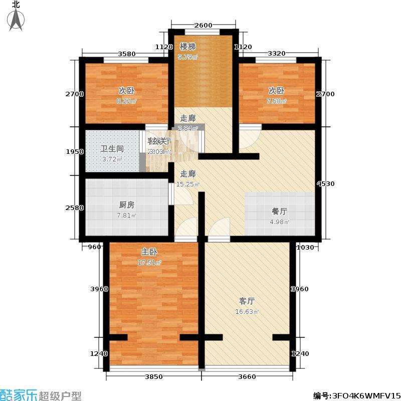 春港丽园86.96㎡房型: 三房; 面积段: 86.96 -110.58 平方米;户型