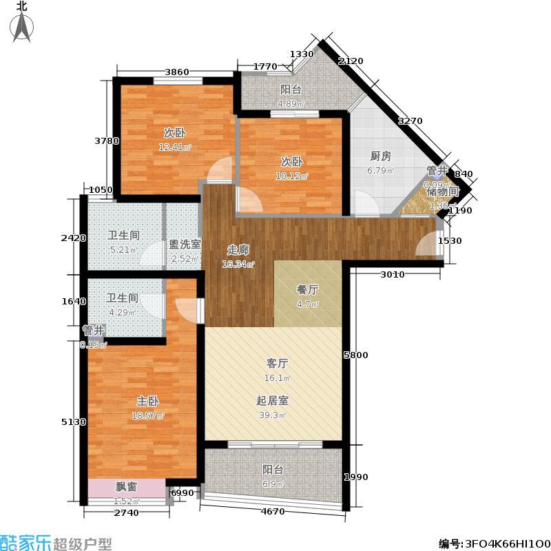 今日丽园124.21㎡房型: 三房; 面积段: 124.21 -144.36 平方米;户型