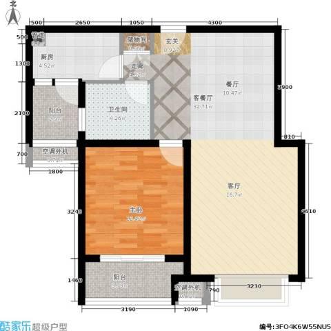兴平昌苑1室1厅1卫1厨72.38㎡户型图