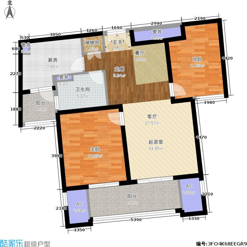 凯欣豪园2房2厅1卫,面积约106平方米户型