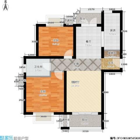 兴平昌苑2室1厅1卫1厨80.36㎡户型图