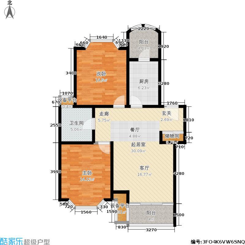 珺乐苑91.00㎡房型: 二房; 面积段: 91 -120 平方米;户型