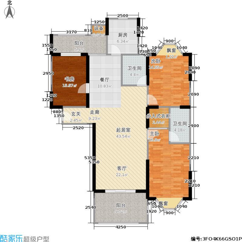 虹桥中园130.00㎡房型: 三房; 面积段: 130 -150 平方米;户型