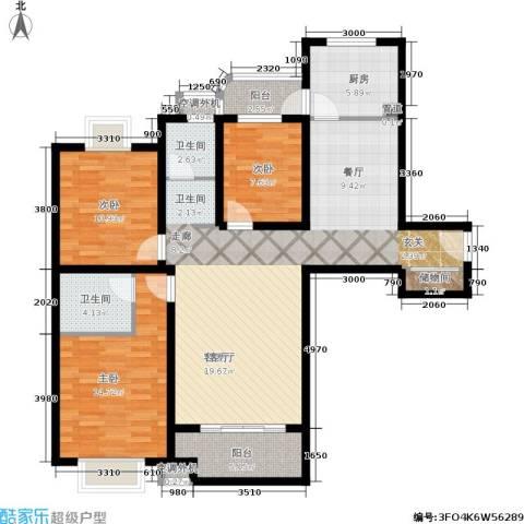 兴平昌苑3室1厅2卫1厨136.00㎡户型图
