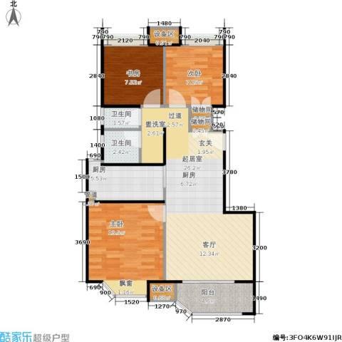 朗庭上郡苑3室0厅2卫1厨89.00㎡户型图