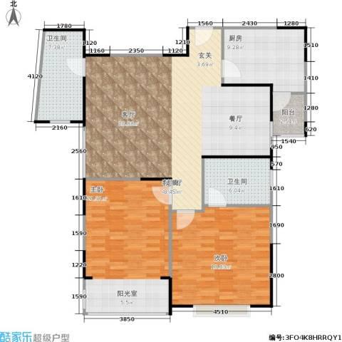 青之杰花园2室1厅2卫1厨115.00㎡户型图