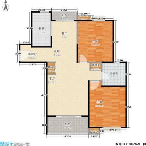 上海源花城2室1厅1卫1厨100.00㎡户型图