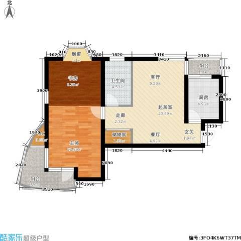 龙柏香榭苑1室0厅1卫1厨90.00㎡户型图