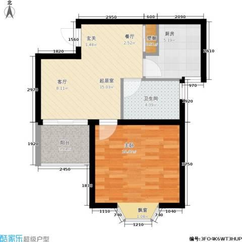 龙柏香榭苑1室0厅1卫1厨62.00㎡户型图