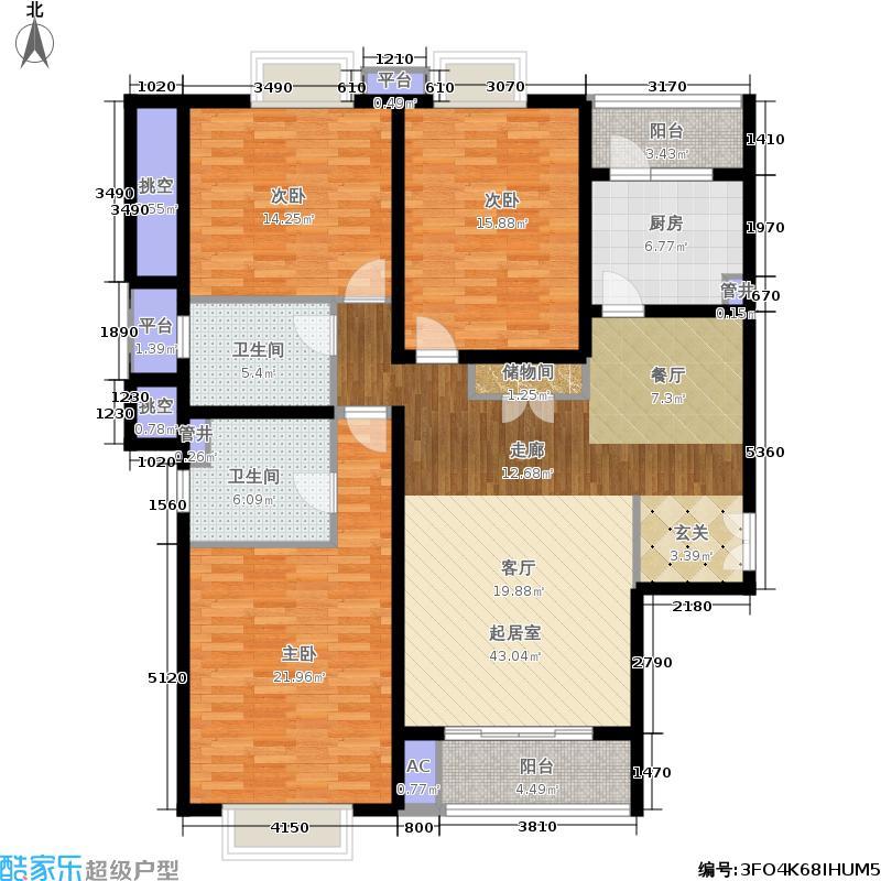 凯欣豪园6-33层户型图3 3室2厅2卫147.15㎡户型