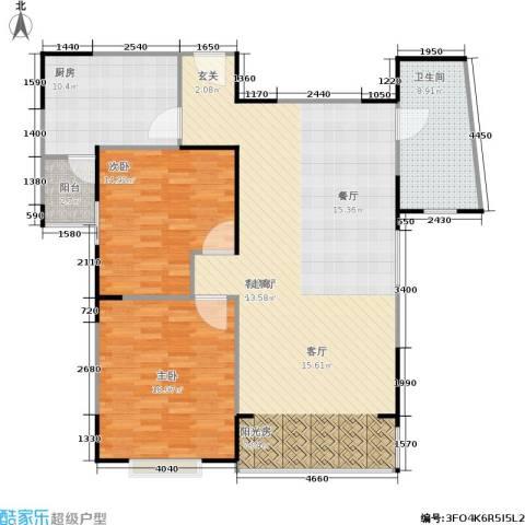 青之杰花园2室1厅1卫1厨115.00㎡户型图