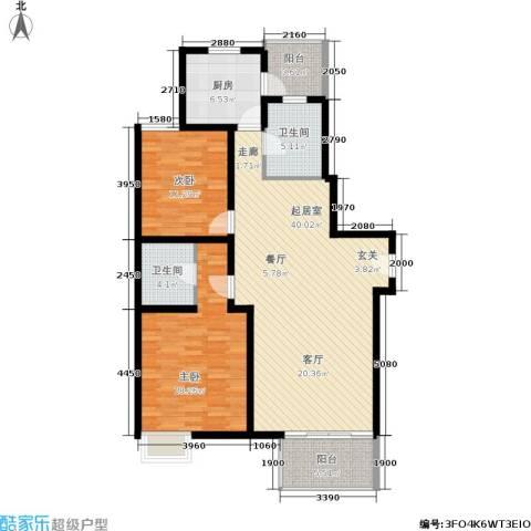 龙柏香榭苑2室0厅2卫1厨134.00㎡户型图