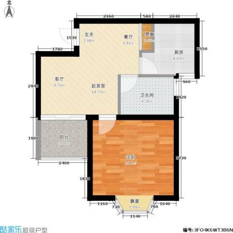 龙柏香榭苑1室0厅1卫1厨61.00㎡户型图