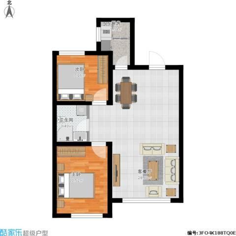 韩建大成府2室1厅1卫1厨76.00㎡户型图
