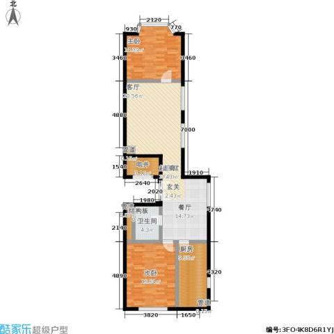 蓝堡国际公寓2室0厅1卫1厨100.00㎡户型图