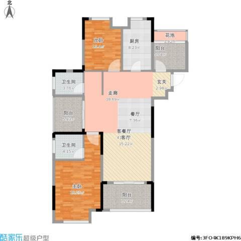 保利梧桐语2室1厅2卫1厨148.00㎡户型图