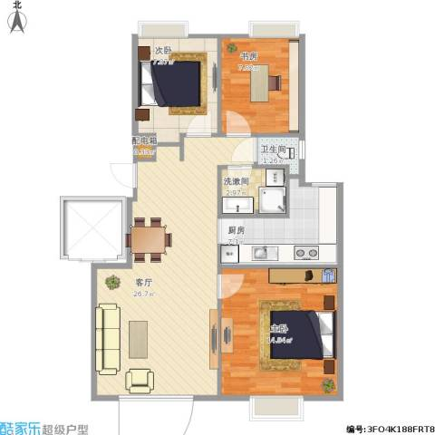 首创・澜茵山3室1厅1卫1厨94.00㎡户型图