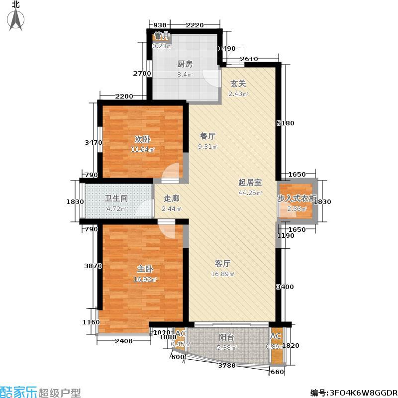 永盛苑106.19㎡房型: 二房; 面积段: 106.19 -123.37 平方米; 户型