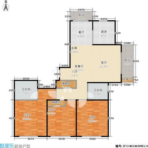 上海源花城3室1厅2卫1厨145.00㎡户型图