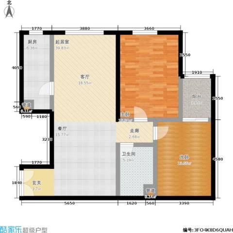 蓝堡国际公寓2室0厅1卫1厨98.00㎡户型图