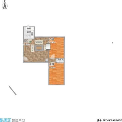 运河鑫城2室1厅1卫1厨65.00㎡户型图
