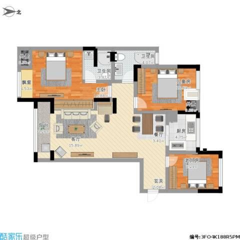 万和华府3室1厅2卫1厨123.00㎡户型图