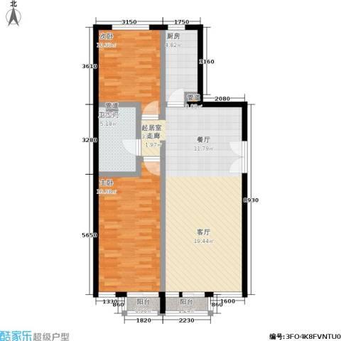 蓝堡国际公寓2室0厅1卫1厨123.00㎡户型图