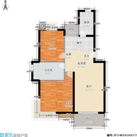 月夏香樟林2室0厅1卫1厨100.00㎡户型图