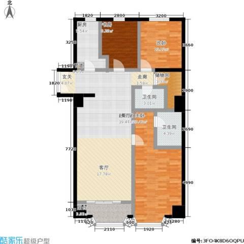 蓝堡国际公寓3室0厅2卫1厨155.00㎡户型图