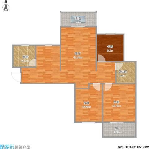 时代广场3室1厅1卫1厨129.00㎡户型图