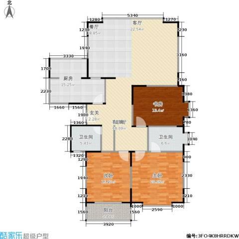 青之杰花园3室1厅2卫1厨156.00㎡户型图