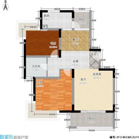 金港河滨华城2室0厅1卫1厨90.00㎡户型图