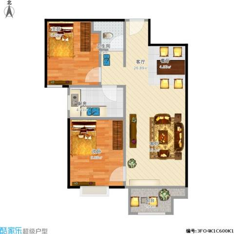 悦澜湾2室1厅1卫1厨74.00㎡户型图