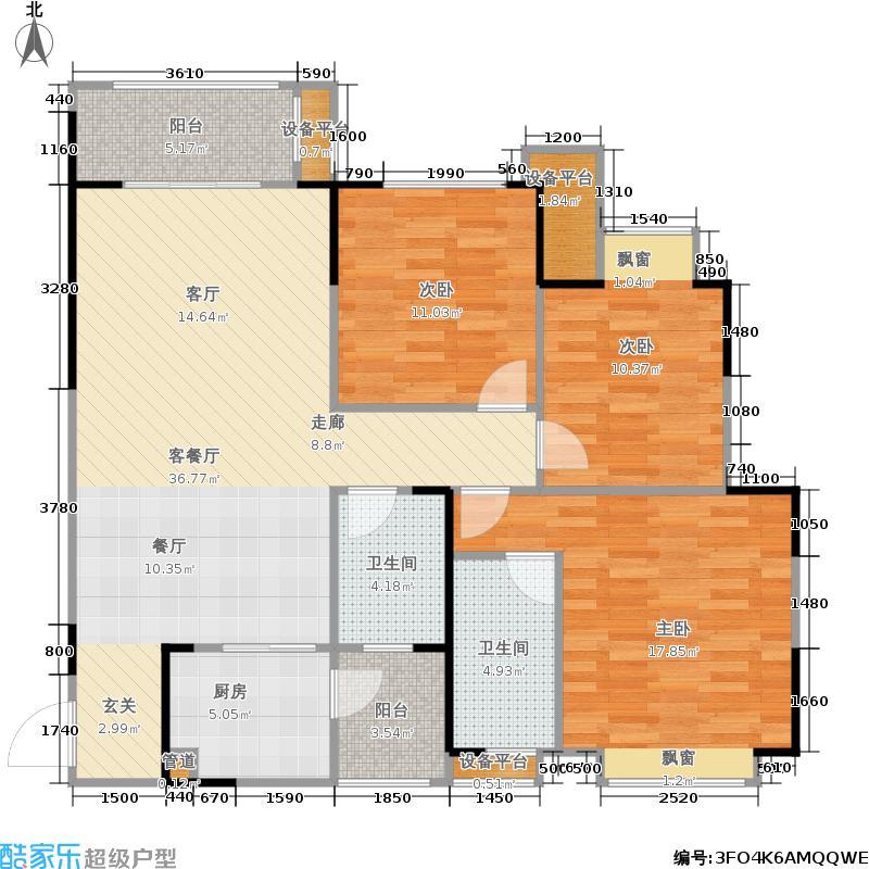 远洋朗郡二期2011年3月中旬开盘E7-1户型3室1厅2卫1厨