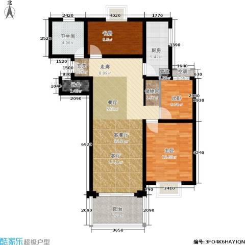 卢湾都市花园3室1厅1卫1厨95.00㎡户型图