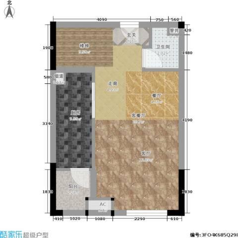 兰亭熙园1厅1卫1厨50.00㎡户型图