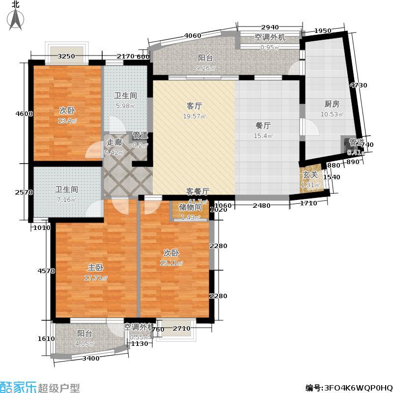 汇龙新城96.97㎡房型: 三房; 面积段: 96.97 -160.56 平方米; 户型