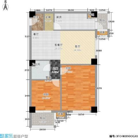 光大名筑2室1厅1卫1厨84.00㎡户型图