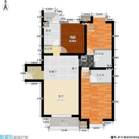 光大名筑3室1厅2卫1厨133.00㎡户型图