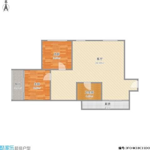 裕顺雅苑2室1厅1卫1厨96.00㎡户型图