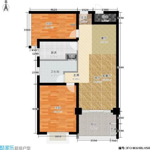 卢湾都市花园2室1厅1卫1厨95.00㎡户型图